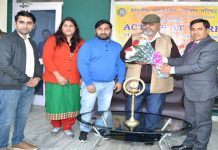 Regional Director, ICCR, Jammu, N K Shil and other dignitaries during inauguration of folk theatre workshop in Jammu.