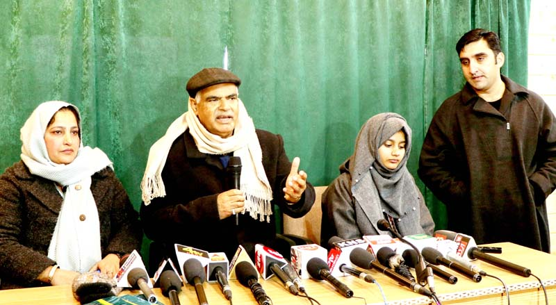 BJP General Secretary Ashok Kaul addressing press conference in Srinagar on Saturday. -Excelsior/Shakeel