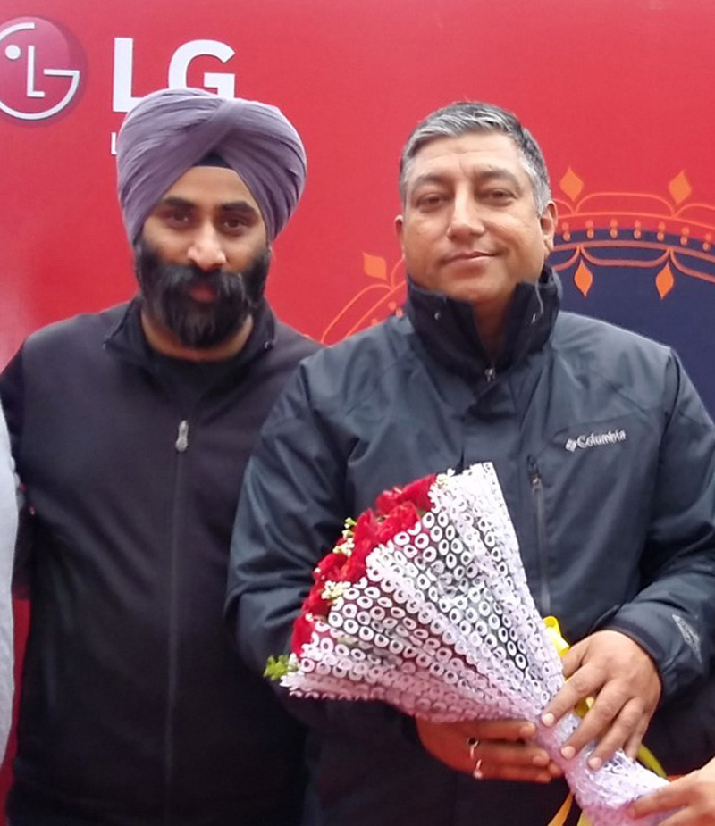 Officials of LG Electronics during launching of 'Lohri Khushiyan Di' campaign at Jammu on Monday.