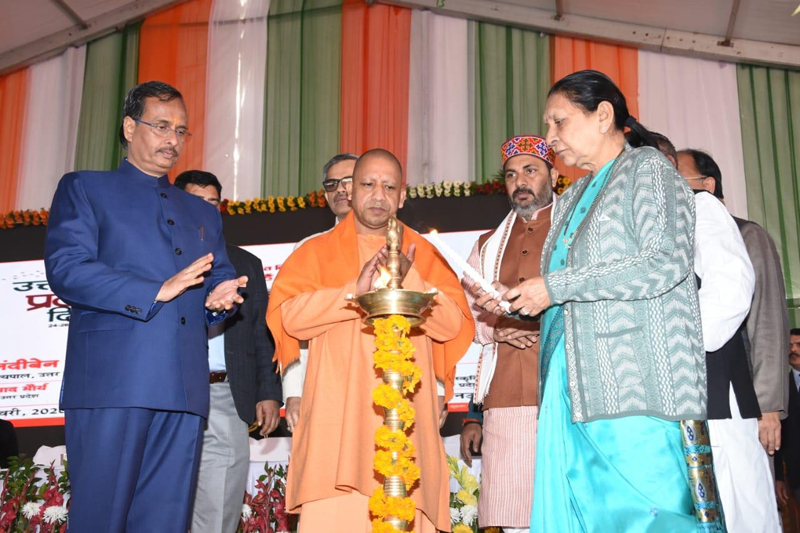 Governor and CM inaugurating celebrations on UP's birthday.