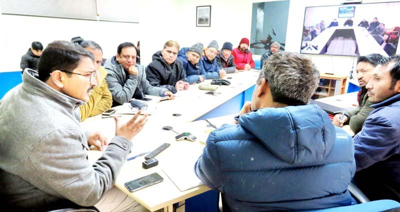Secretary Education Ladakh, Saugat Biswas chairing a meeting on Saturday.