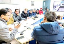 Secretary Education Ladakh, Saugat Biswas chairing a meeting on Saturday.