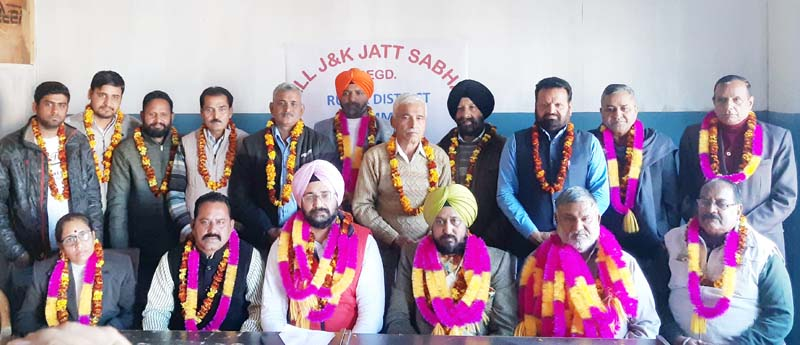 Office bearers of District Jammu (Rural) Committee of J&K Jatt Sabha posing for a group photograph at R.S Pura on Sunday.