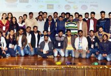 Participants of tech-fest during conclusion of event on SMVDU Campus.