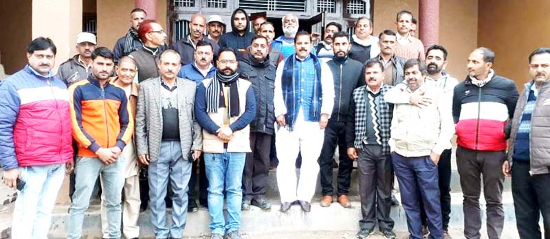 NPP chairman, Harsh Dev Singh at a meeting in Jammu on Saturday.