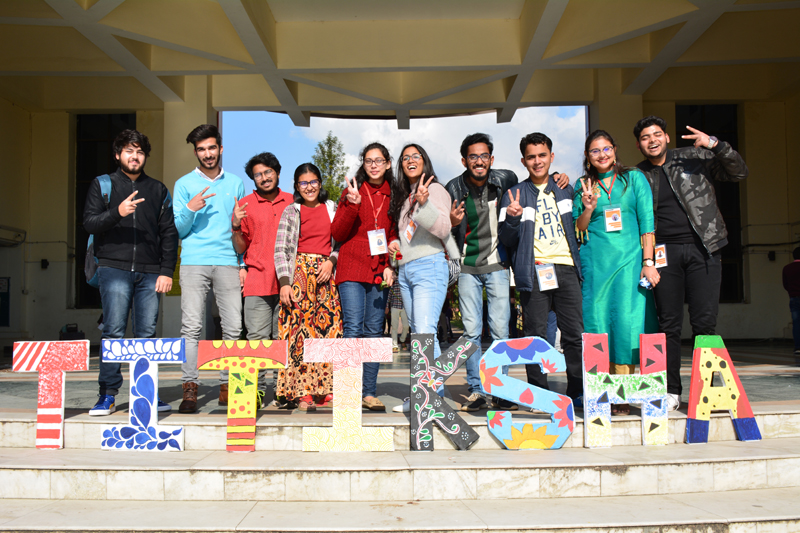 Students in jubilant mood as technical festival begins at SMVDU on Friday.