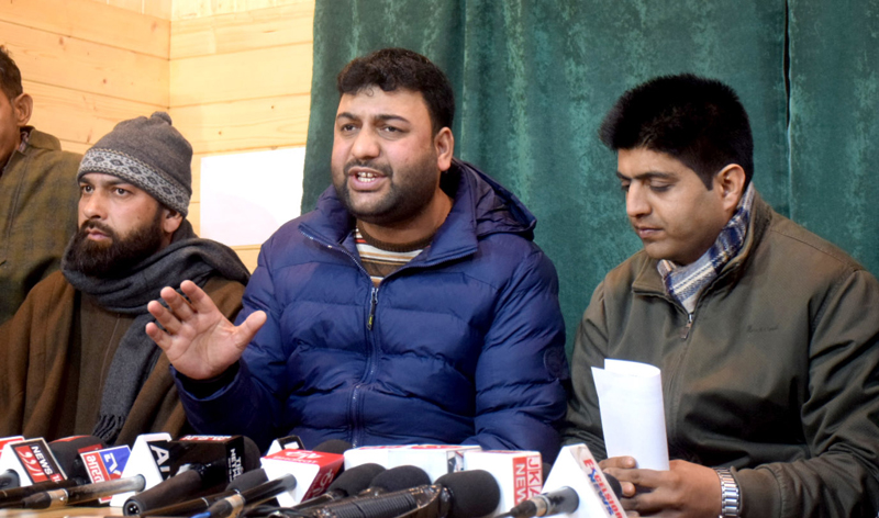 Jammu & Kashmir Daily Wagers Forum addressing a press conference in Srinagar. — Excelsior/Shakeel