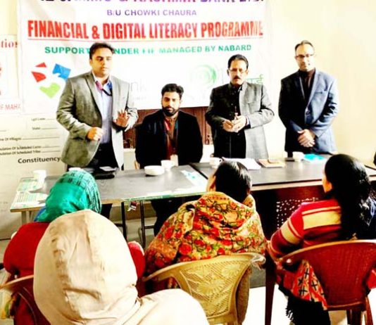 Officials of J&K Bank during a Financial Literacy Camp at Akhnoor on Friday.
