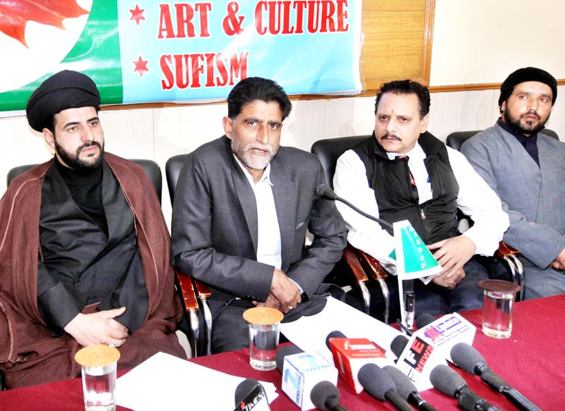 Aga Syed Abbas Rizvi, Jammu Kashmir People's Justice Front Chairman addressing a press conference at Jammu on Friday. -Excelsior/Rakesh