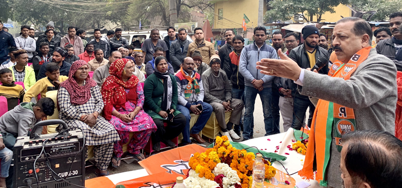 Union Minister Dr Jitendra Singh addressing a meeting in Tilak Nagar Assembly constituency of Delhi, on Monday.