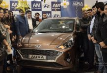 Officials of AM Hyundai Paloura launching All New AURA.