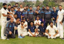 J&K team posing along with support staff after registering win over Odisha in Cuttack on Tuesday.