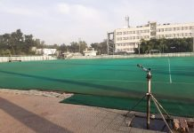A view of Astro-turf hockey stadium in Jammu.