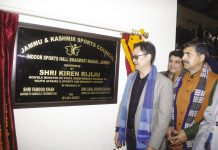 Union Minister of State for Sports, Kiren Rijiju inaugurating Multipurpose Indoor Sports Hall at Bhagwati Nagar in Jammu. -Excelsior/Rakesh