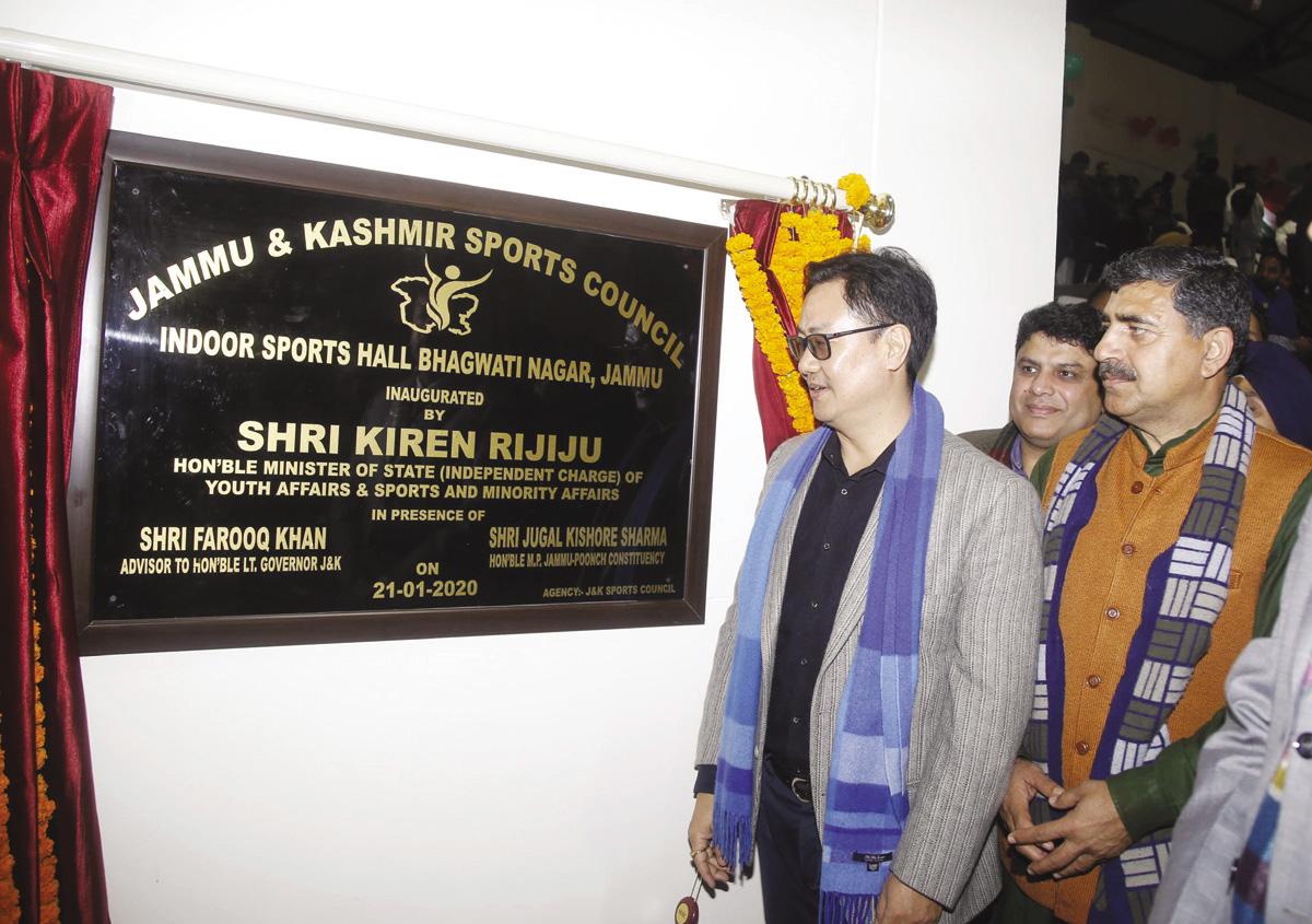 Union Minister of State for Sports, Kiren Rijiju inaugurating Multipurpose Indoor Sports Hall at Bhagwati Nagar in Jammu. -Excelsior/Rakesh