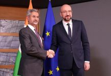 Indian Foreign Minister Subrahmanyam Jaishankar, left, is welcomed by European Council President Charles Michel prior to a meeting at the Europa building in Brussels.