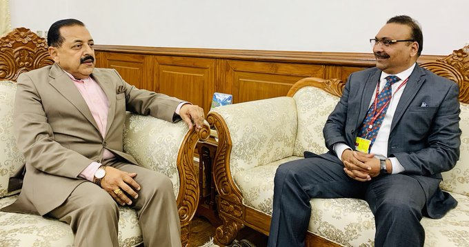 Director General Police (DGP) Jammu and Kashmir, Dilbag Singh calling on Union Minister Dr Jitendra Singh, at North Block, New Delhi on Friday.