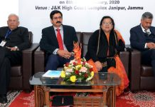 "Chief Justice, J&K High Court, Justice Gita Mittal, Justice Rajesh Bindal and others during a training programme on ""Advocacy Skills"" at High Court Complex, Jammu."
