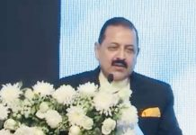 Union Minister, Dr Jitendra Singh addressing the National Conference on e-Governance at Mumbai on Saturday.