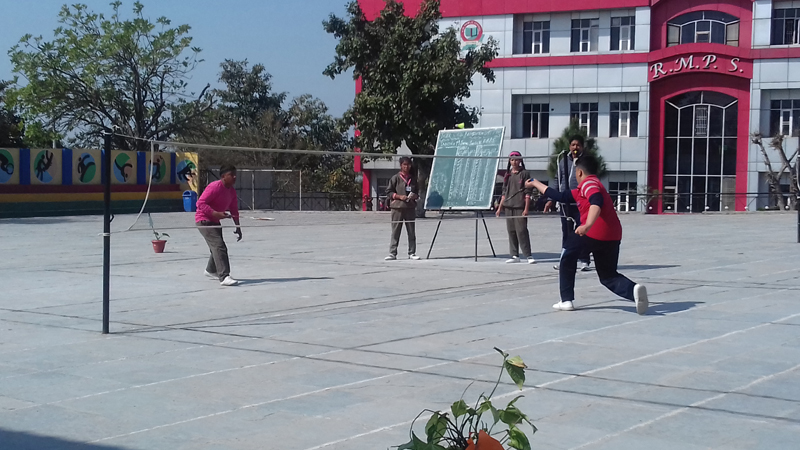 Players in action during the Inter-school Badminton competition in Jammu.