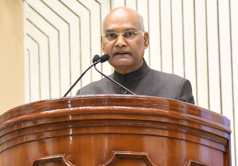 President, Ram Nath Kovind addressing the gathering at the National Science Day Celebrations 2020, in New Delhi on Friday.