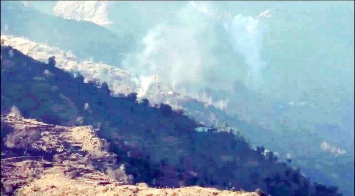 Mortar shells explode in Degwar sector of Poonch on Saturday. -Excelsior/ Gurjeetbhajan