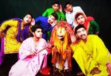 A scene from Dogri play 'Pachaas Saal Baad' staged at Jammu on Monday.