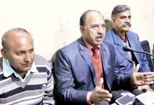Leaders of Dalit Chetna Manch addressing a press conference at Jammu on Monday. — Excelsior/Rakesh
