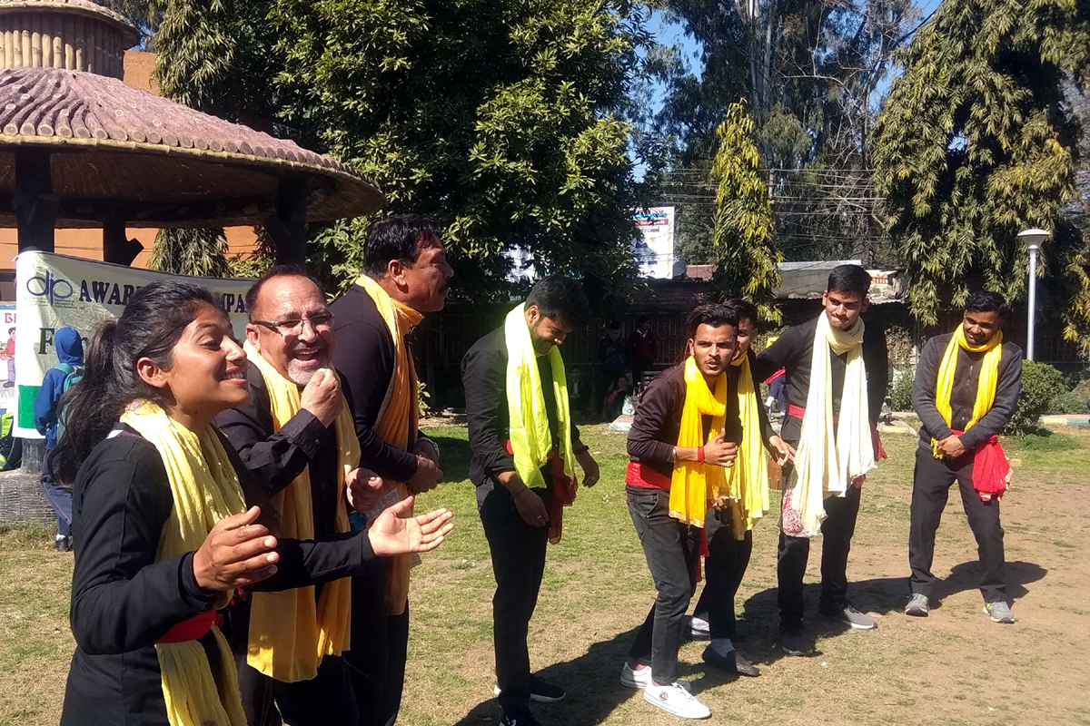 Artists of Sangam Theatre presenting a street play at Udhampur on Sunday.