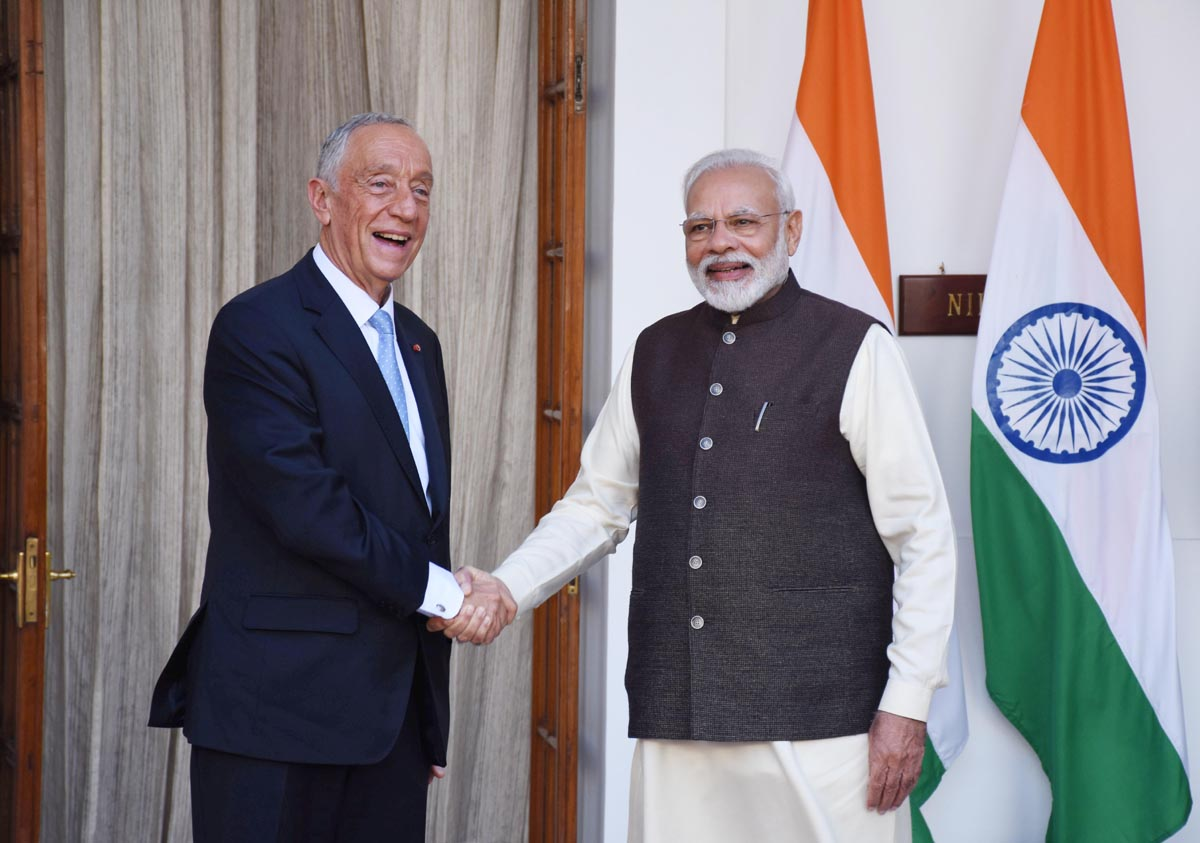 Prime Minister Narendra Modi shaking hands with President of Portuguese Republic Marcelo Rebelo De Sousa ahead of their meeting at Hyderabad House, in New Delhi on Friday. (UNI)