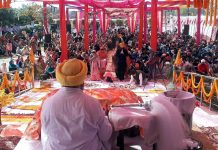People during Grand Gurmat Samagam.