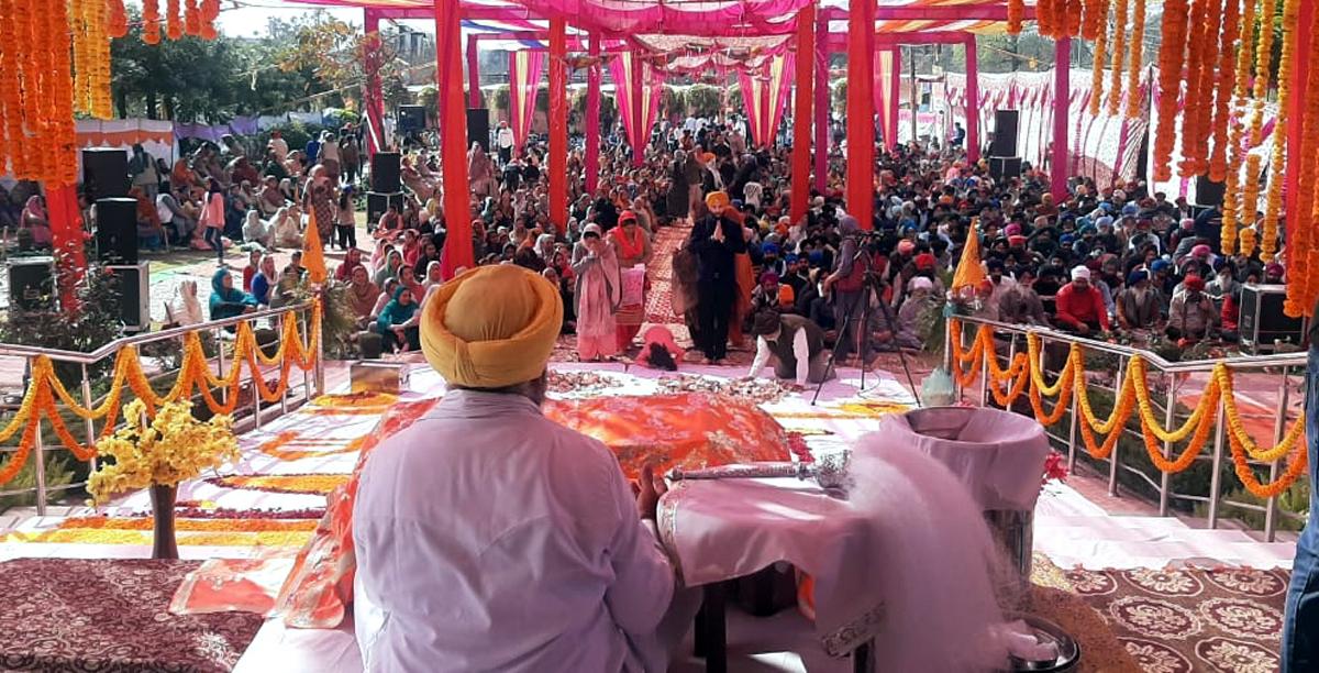 People during Grand Gurmat Samagam.