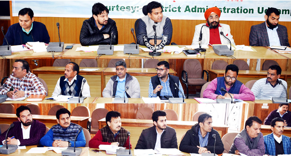 Deputy Commissioner Udhampur, Dr Piyush Singla chairing a meeting on Monday.