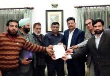 BJP, OBC Morcha delegation submitting a memorandum to VC National Commission of BC, Dr Lokesh Kumar Prajapati at Jammu on Monday.