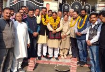 Former Minister, Sat Sharma kick starting construction works of lane in Ward 41, Jammu on Monday.
