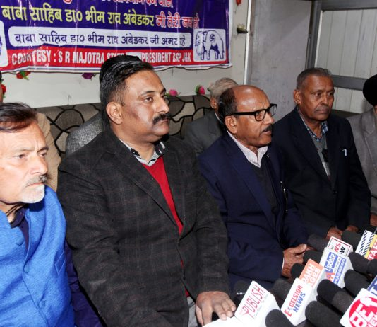 BSP leaders at a press conference at Jammu on Sunday. —Excelsior/Rakesh