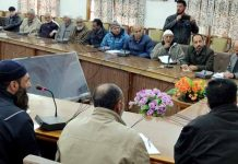 Financial Commissioner Dr Arun Kumar Mehta and Secretary Sarmad Hafeez interacting with deputations at Srinagar.