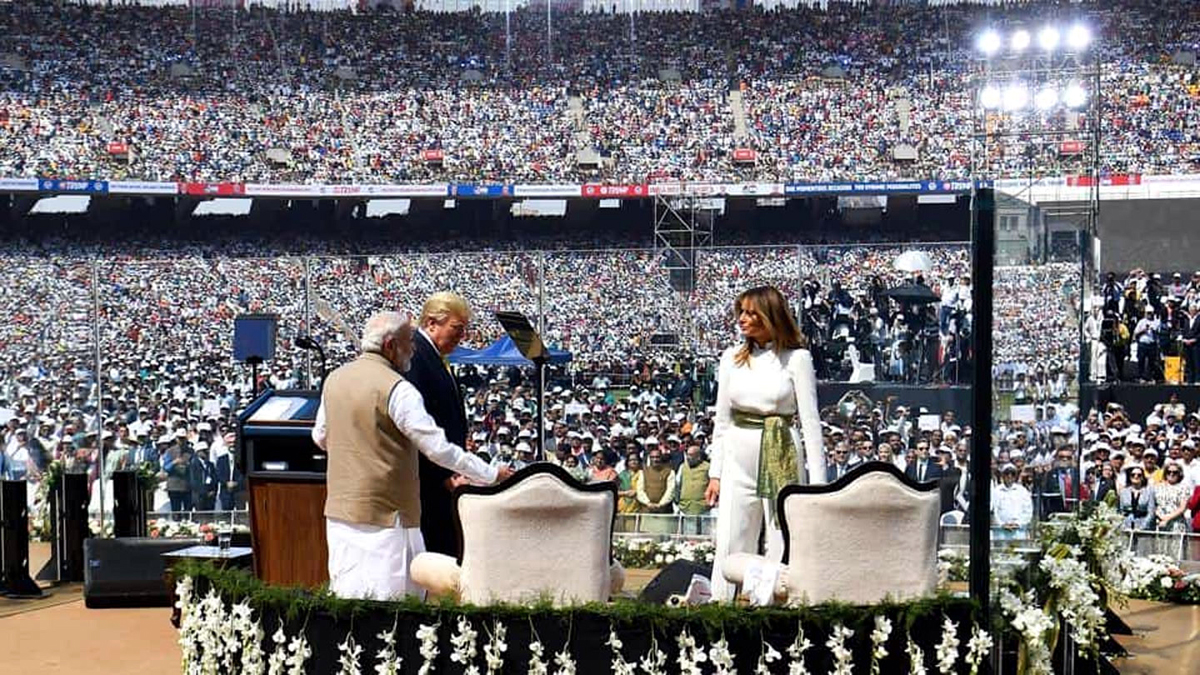 US President Donald Trump, Prime Minister Narendra Modi and Melania Trump at Motera stadium in Ahmedabad on Monday.