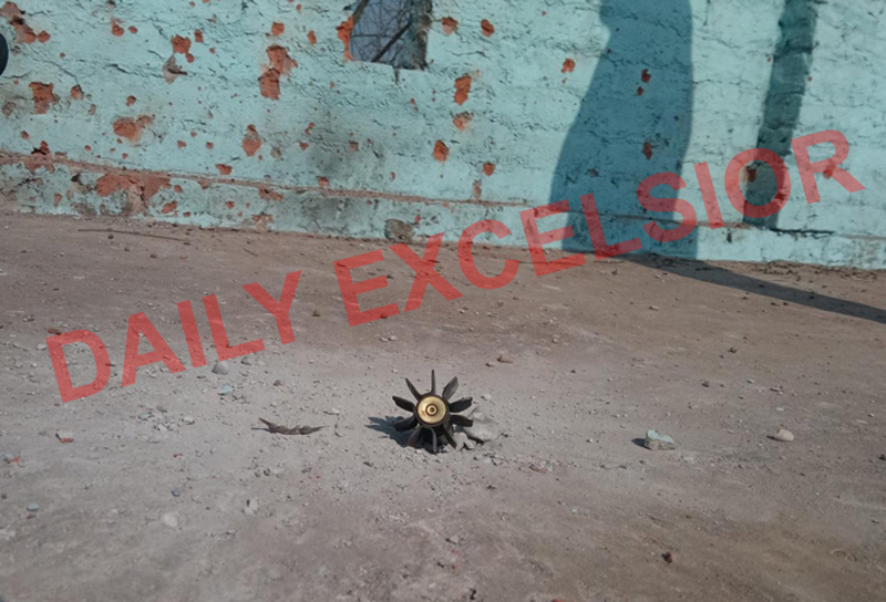 A mortar shell exploded on rooftop of a house at village Chakra in Hiranagar sector on Saturday. -Excelsior/Pardeep