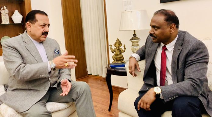 Union Minister of State in PMO Dr Jitendra Singh in conversation with LG Girish Chandra Murmu in New Delhi on Monday.