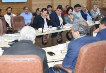 Additional Secretary MHA Gyanesh Kumar reviewing progress of PMDP projects in Jammu on Sunday.
