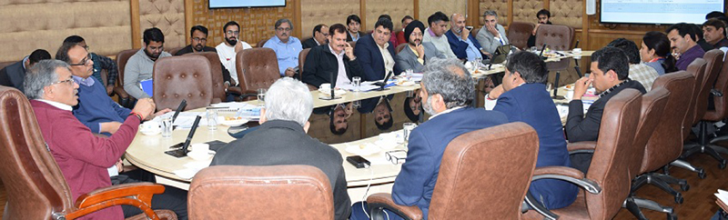 Additional Secretary MHA Gyanesh Kumar reviewing progress of PMDP projects in Jammu on Sunday.