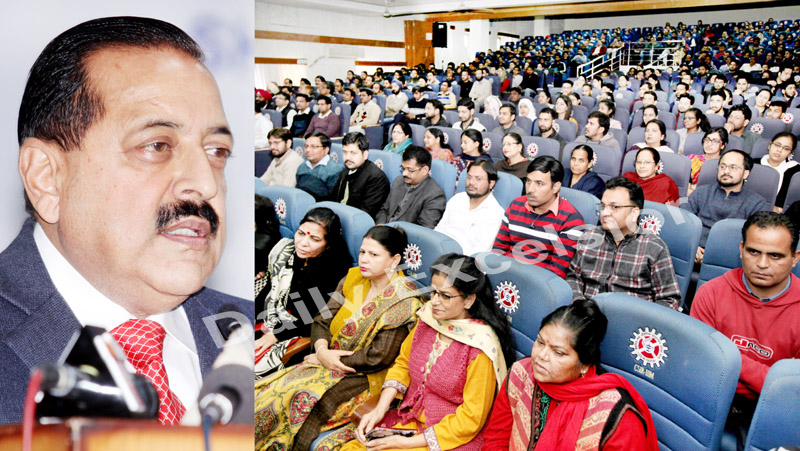 Union Minister, Dr Jitendra Singh addressing a function at IIIM Jammu on Saturday.-Excelsior/Rakesh