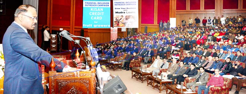 Lieutenant Governor Girish Chandra Murmu addressing the gathering during launch of 'Financial Inclusion Outreach Programme' in Jammu on Tuesday. -Excelsior/Rakesh