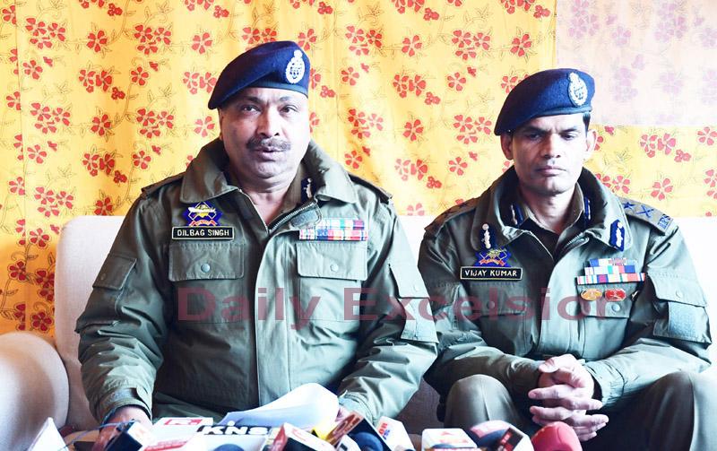 DGP Dilbag Singh addressing a press conference in Srinagar. IGP Kashmir Vijay Kumar was also present. -Excelsior/ Shakeel