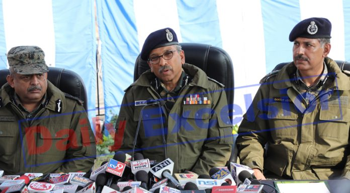 DG CRPF, DR A P Maheshwari addressing press conference at Nagrota near Jammu on Saturday. -Excelsior/Rakesh