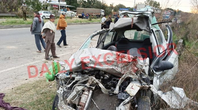 Wreckage of the ill fated Alto car which met with a tragic mishap near Jatwal in Samba district. —Excelsior/Abhishek Badyal