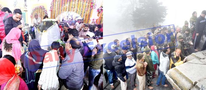 Devotees paying obeisance at holy Shiv temple on occasion of Maha Shivratri in Jammu (left) and pilgrims in long queues treading stairs to perform darshan at holy Shankaracharya temple at Srinagar on Friday (right). -Excelsior pics by Rakesh & Shakeel