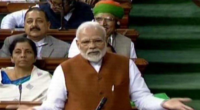 A TV grab shows Prime Minister Narendra Modi speaking in Lok Sabha on Thursday. (UNI)