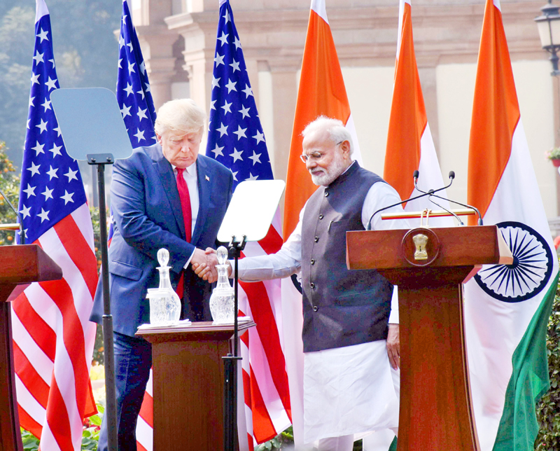 Prime Minister Narendra Modi and Donald J Trump, President of the United States delivering joint press statement at Hyderabad House in New Delhi on Tuesday. (UNI)